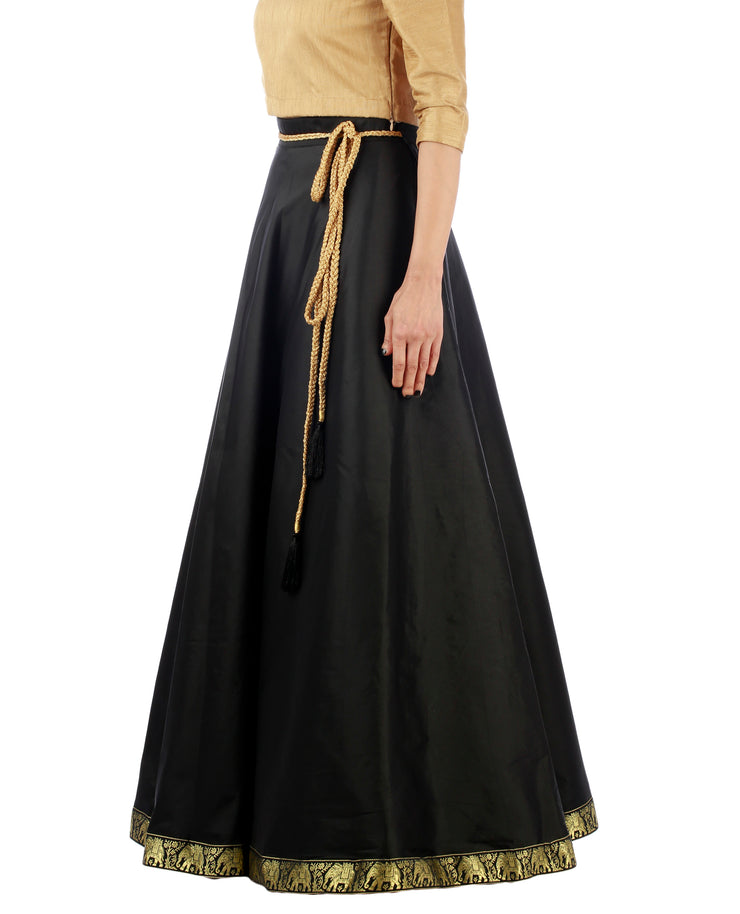 DeeVineeTi Women's Taffeta Silk Black Solid Lehenga Style Maxi Wrap-Around Skirt WA000191 Freesize Ethnic Full Circle Left