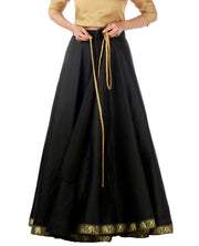 DeeVineeTi Women's Taffeta Silk Black Solid Lehenga Style Maxi Wrap-Around Skirt WA000191 Freesize Ethnic Full Circle Lined