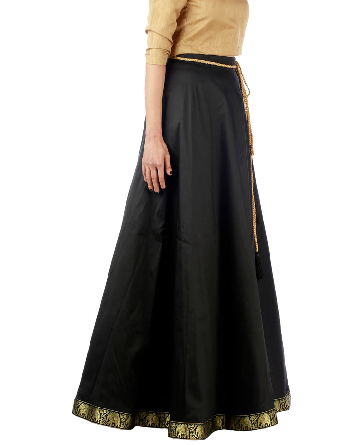 DeeVineeTi Women's Taffeta Silk Black Solid Lehenga Style Maxi Wrap-Around Skirt WA000191 Freesize Ethnic Full Circle Right