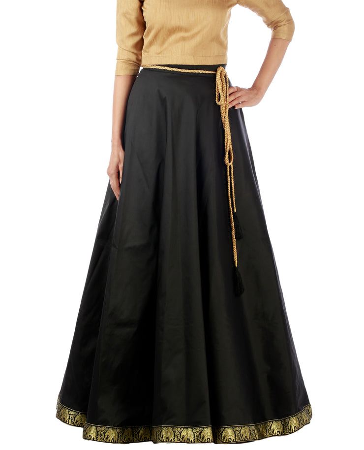 DeeVineeTi Women's Taffeta Silk Black Solid Lehenga Style Maxi Wrap-Around Skirt WA000191 Freesize Ethnic Full Circle
