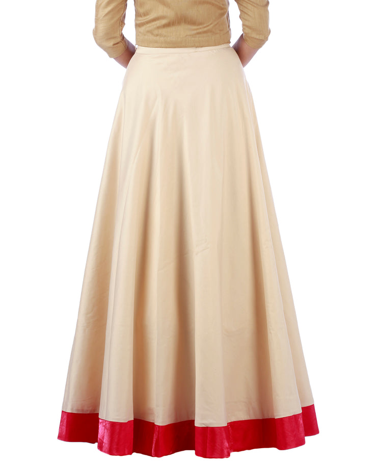 DeeVineeTi Women's Taffeta Silk Cream Solid Lehenga Style Maxi Wrap-Around Skirt WA000187 Freesize Ethnic Full Circle Back