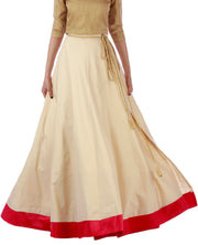 DeeVineeTi Women's Taffeta Silk Cream Solid Lehenga Style Maxi Wrap-Around Skirt WA000187 Freesize Ethnic Full Circle Front