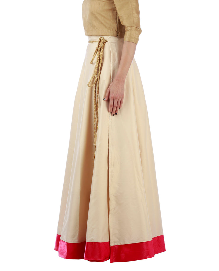 DeeVineeTi Women's Taffeta Silk Cream Solid Lehenga Style Maxi Wrap-Around Skirt WA000187 Freesize Ethnic Full Circle Left