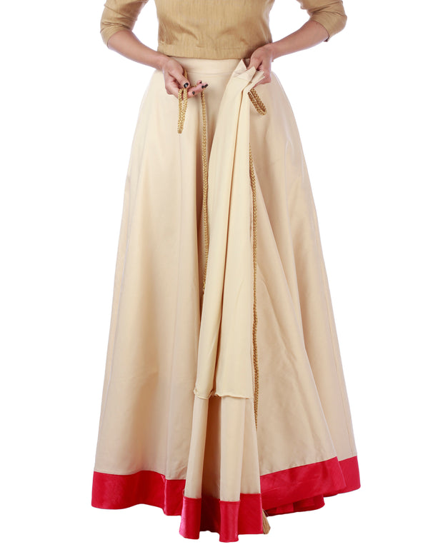 DeeVineeTi Women's Taffeta Silk Cream Solid Lehenga Style Maxi Wrap-Around Skirt WA000187 Freesize Ethnic Full Circle Lined
