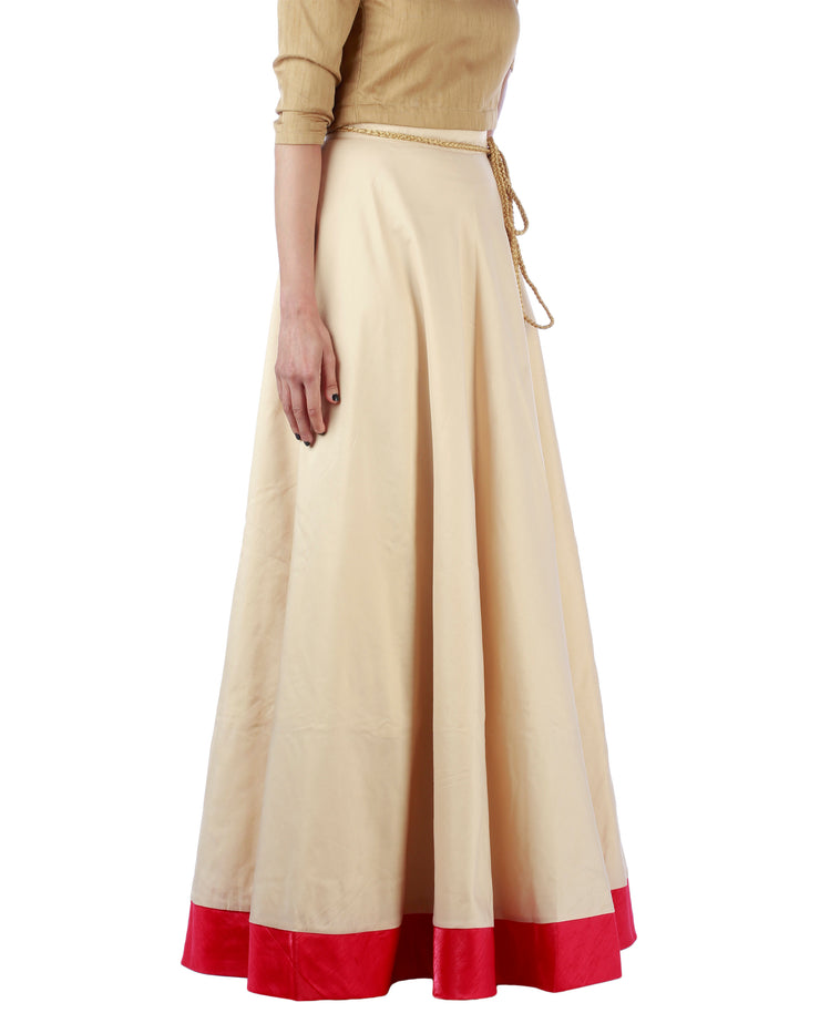 DeeVineeTi Women's Taffeta Silk Cream Solid Lehenga Style Maxi Wrap-Around Skirt WA000187 Freesize Ethnic Full Circle Right