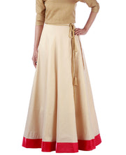 DeeVineeTi Women's Taffeta Silk Cream Solid Lehenga Style Maxi Wrap-Around Skirt WA000187 Freesize Ethnic Full Circle