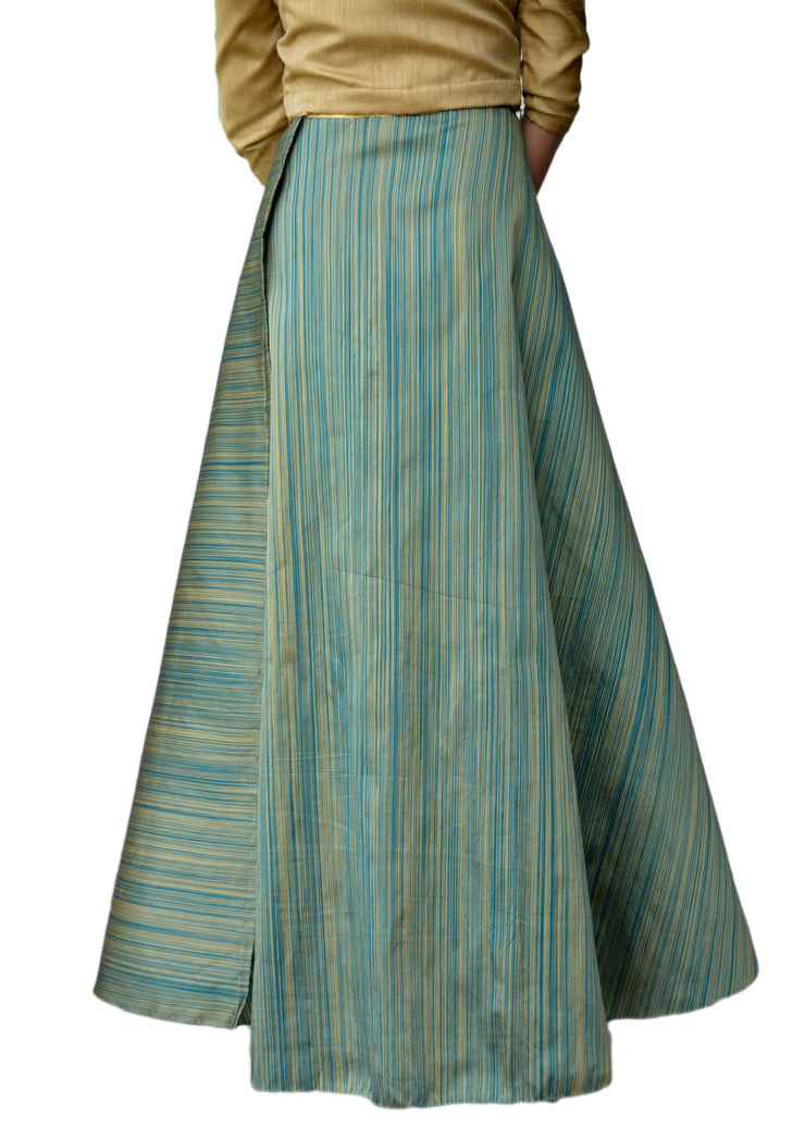 DeeVineeTi Women's Taffeta Silk Green Striped Wrap-Around Skirt WA000116 Freesize Ethnic Maxi Skirt Back