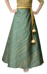 DeeVineeTi Women's Taffeta Silk Green Striped Wrap-Around Skirt WA000116 Freesize Ethnic Maxi Skirt Front