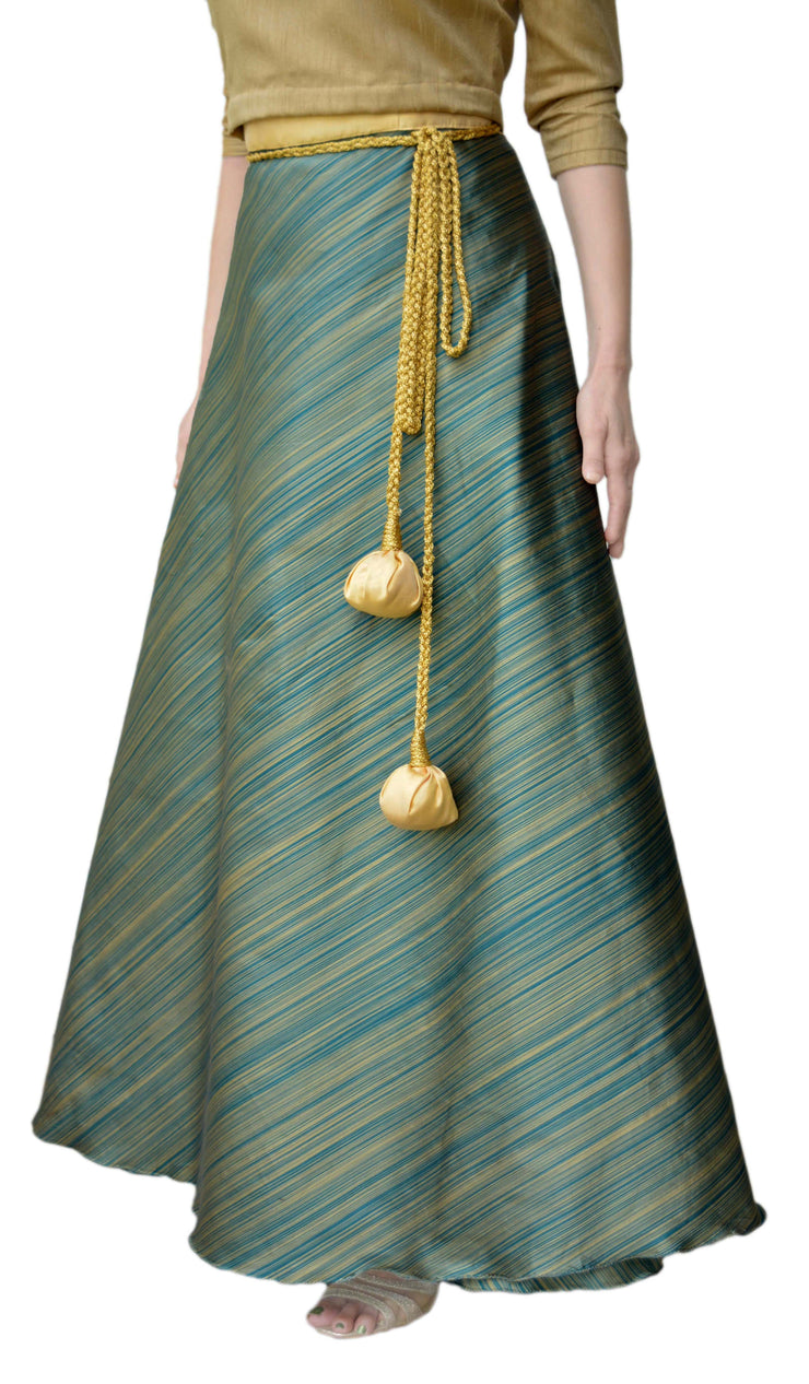 DeeVineeTi Women's Taffeta Silk Green Striped Wrap-Around Skirt WA000116 Freesize Ethnic Maxi Skirt Left
