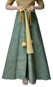 DeeVineeTi Women's Taffeta Silk Green Striped Wrap-Around Skirt WA000116 Freesize Ethnic Maxi Skirt Lined