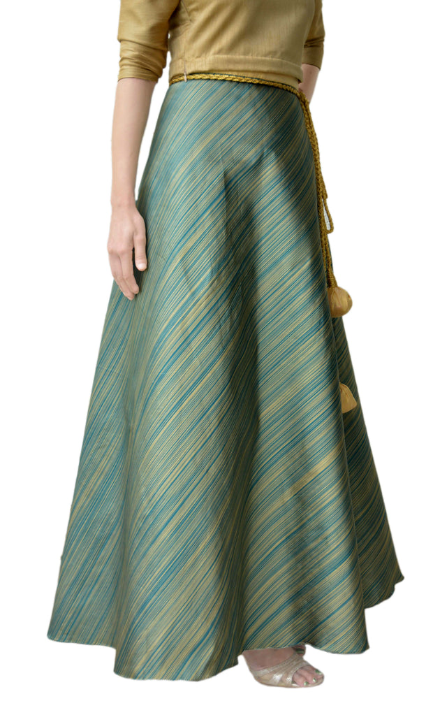 DeeVineeTi Women's Taffeta Silk Green Striped Wrap-Around Skirt WA000116 Freesize Ethnic Maxi Skirt Right