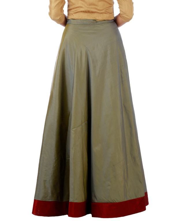 DeeVineeTi Women's Taffeta Silk Grey Solid Lehenga Style Maxi Wrap-Around Skirt WA000184 Freesize Ethnic Full-Circle Back