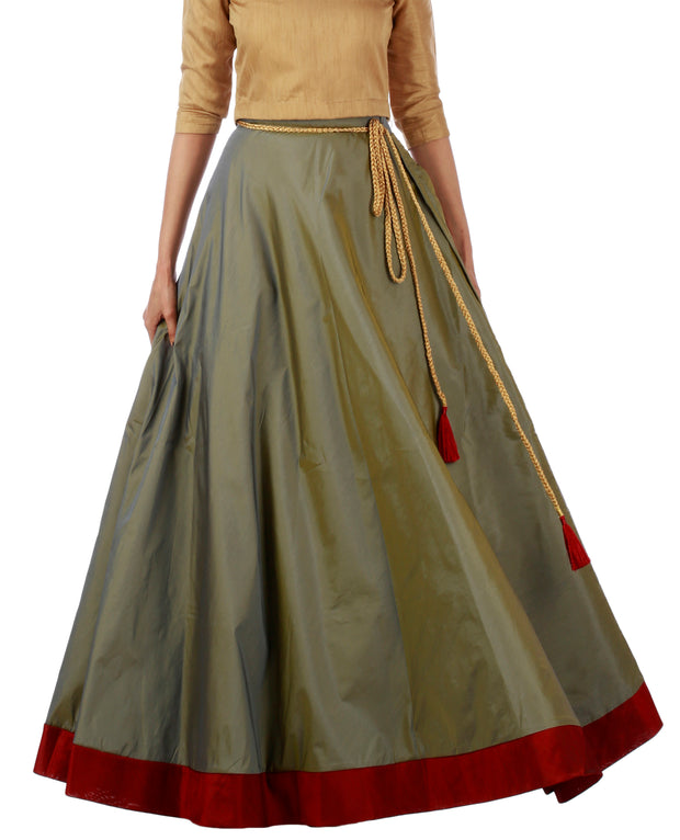 DeeVineeTi Women's Taffeta Silk Grey Solid Lehenga Style Maxi Wrap-Around Skirt WA000184 Freesize Ethnic Full-Circle Front