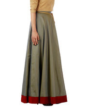 DeeVineeTi Women's Taffeta Silk Grey Solid Lehenga Style Maxi Wrap-Around Skirt WA000184 Freesize Ethnic Full-Circle Left