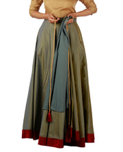 DeeVineeTi Women's Taffeta Silk Grey Solid Lehenga Style Maxi Wrap-Around Skirt WA000184 Freesize Ethnic Full-Circle Lined