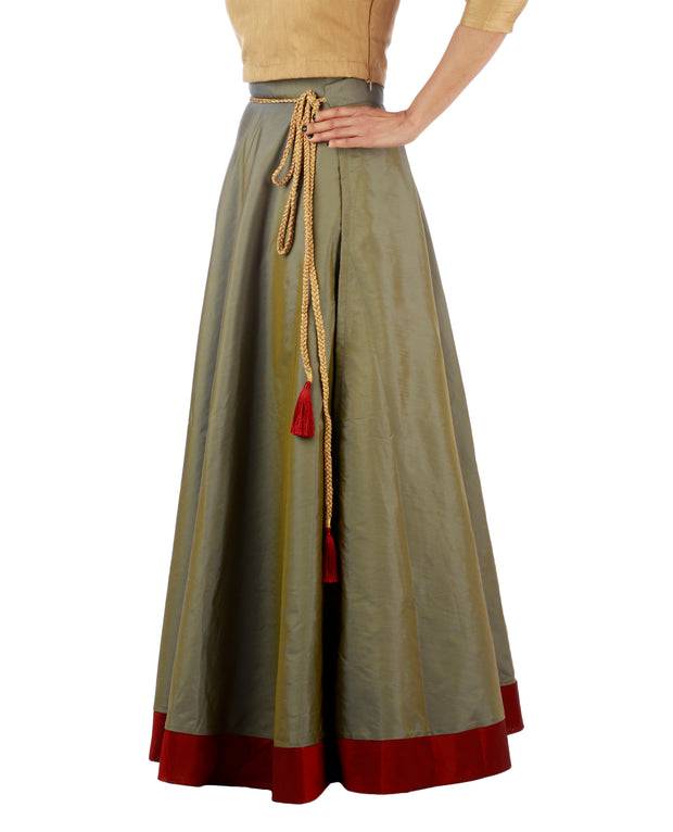 DeeVineeTi Women's Taffeta Silk Grey Solid Lehenga Style Maxi Wrap-Around Skirt WA000184 Freesize Ethnic Full-Circle Right