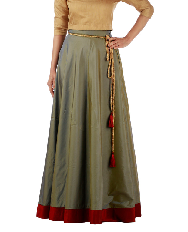 DeeVineeTi Women's Taffeta Silk Grey Solid Lehenga Style Maxi Wrap-Around Skirt WA000184 Freesize Ethnic Full-Circle