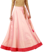 DeeVineeTi Women's Taffeta Silk Pink Solid Lehenga Style Maxi Wrap-Around Skirt WA000185 Freesize Ethnic Full-Circle Front