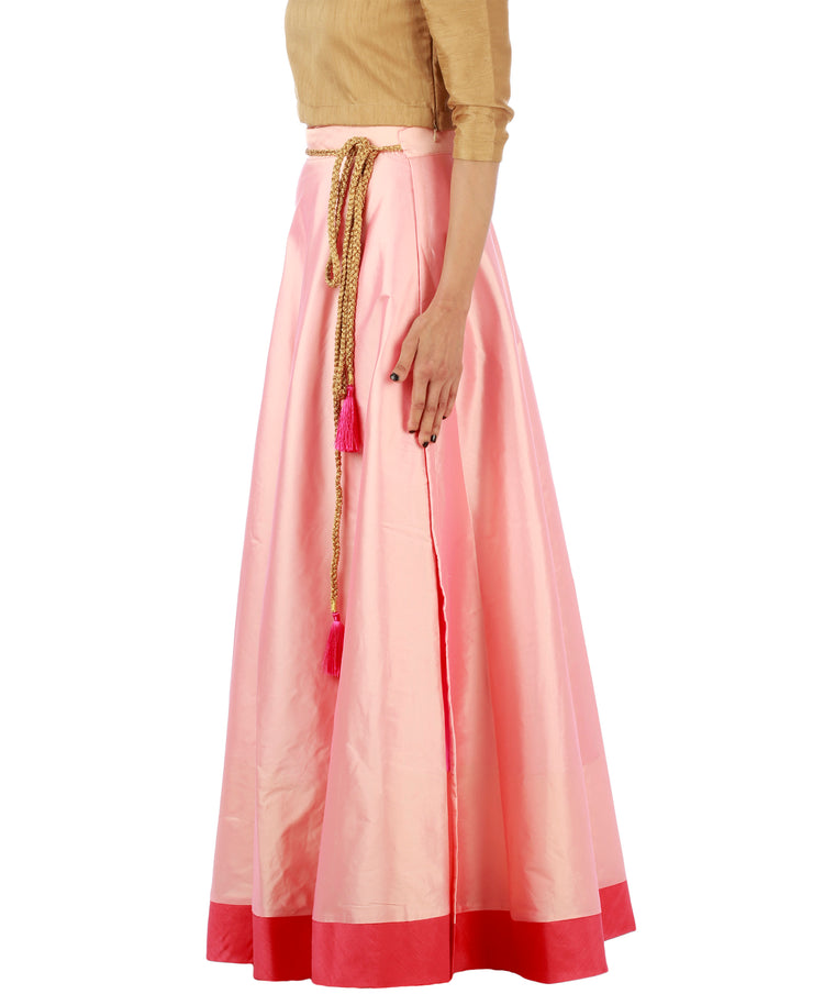 DeeVineeTi Women's Taffeta Silk Pink Solid Lehenga Style Maxi Wrap-Around Skirt WA000185 Freesize Ethnic Full-Circle Left