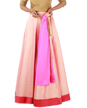 DeeVineeTi Women's Taffeta Silk Pink Solid Lehenga Style Maxi Wrap-Around Skirt WA000185 Freesize Ethnic Full-Circle Lined