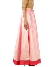 DeeVineeTi Women's Taffeta Silk Pink Solid Lehenga Style Maxi Wrap-Around Skirt WA000185 Freesize Ethnic Full-Circle Right