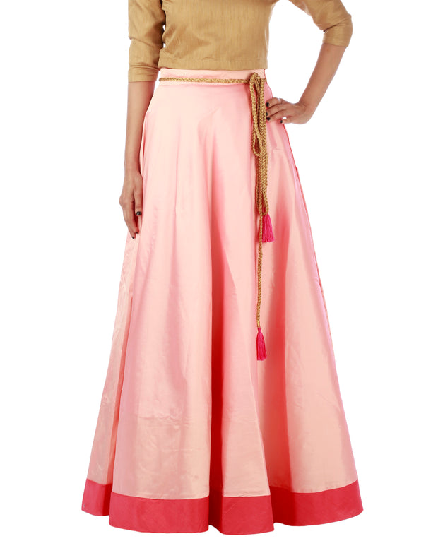 DeeVineeTi Women's Taffeta Silk Pink Solid Lehenga Style Maxi Wrap-Around Skirt WA000185 Freesize Ethnic Full-Circle
