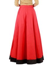 DeeVineeTi Women's Taffeta Silk Red Solid Lehenga Style Maxi Wrap-Around Skirt WA000186 Freesize Ethnic Full Circle Back