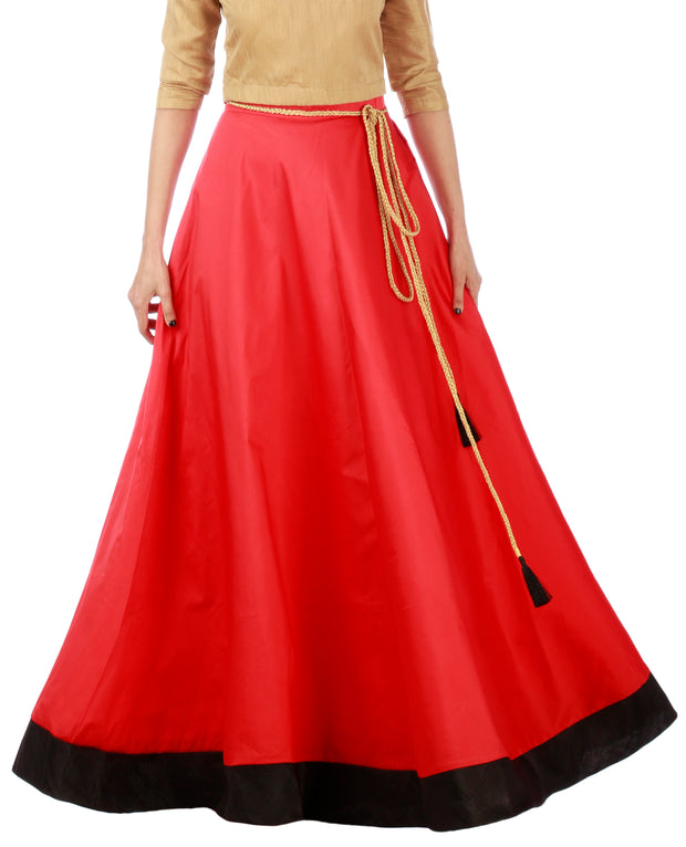 DeeVineeTi Women's Taffeta Silk Red Solid Lehenga Style Maxi Wrap-Around Skirt WA000186 Freesize Ethnic Full Circle Front