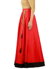 DeeVineeTi Women's Taffeta Silk Red Solid Lehenga Style Maxi Wrap-Around Skirt WA000186 Freesize Ethnic Full Circle Left