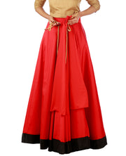 DeeVineeTi Women's Taffeta Silk Red Solid Lehenga Style Maxi Wrap-Around Skirt WA000186 Freesize Ethnic Full Circle Lined