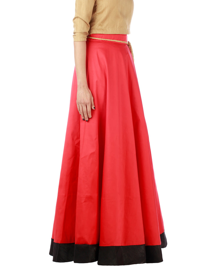DeeVineeTi Women's Taffeta Silk Red Solid Lehenga Style Maxi Wrap-Around Skirt WA000186 Freesize Ethnic Full Circle Right