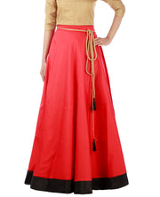 DeeVineeTi Women's Taffeta Silk Red Solid Lehenga Style Maxi Wrap-Around Skirt WA000186 Freesize Ethnic Full Circle