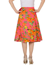 DeeVineeTi Women's Crepe Pink Floral Printed Beach Wrap-Around Skirt WA000172 Freesize Mid-Calf Back