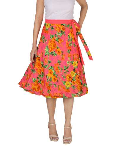 DeeVineeTi Women's Crepe Pink Floral Printed Beach Wrap-Around Skirt WA000172 Freesize Mid-Calf Front