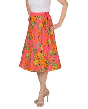 DeeVineeTi Women's Crepe Pink Floral Printed Beach Wrap-Around Skirt WA000172 Freesize Mid-Calf Left