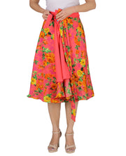 DeeVineeTi Women's Crepe Pink Floral Printed Beach Wrap-Around Skirt WA000172 Freesize Mid-Calf Lined