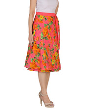 DeeVineeTi Women's Crepe Pink Floral Printed Beach Wrap-Around Skirt WA000172 Freesize Mid-Calf Right