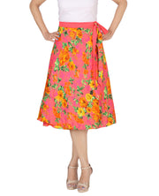 DeeVineeTi Women's Crepe Pink Floral Printed Beach Wrap-Around Skirt WA000172 Freesize Mid-Calf