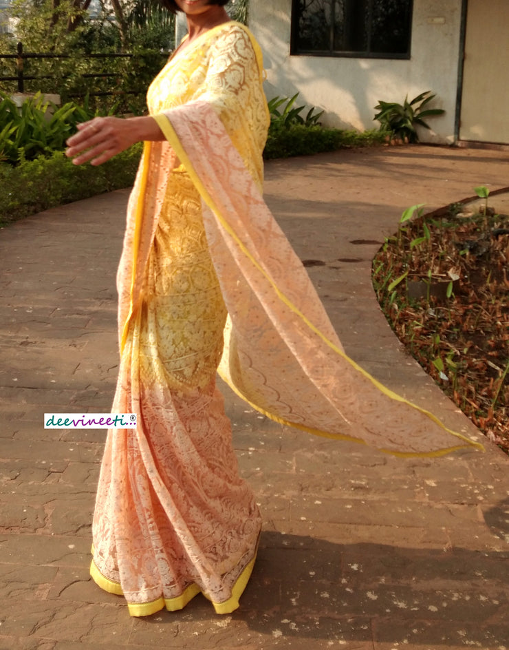 Yellow Peach Shaded Net Embroidered Chikankari Saree