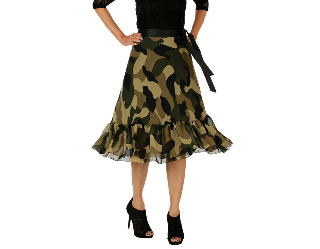 Military Print Ruffle Wrap Skirt - WA000155