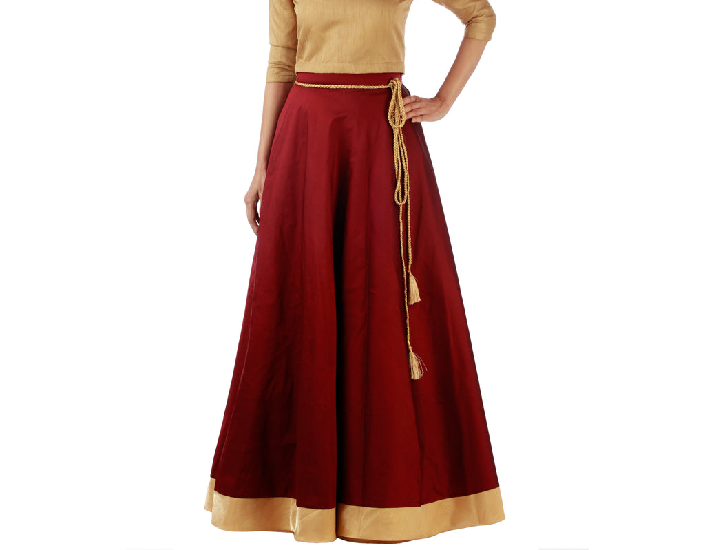 Maroon Silk Ethnic Wrap Skirt  - WA000188