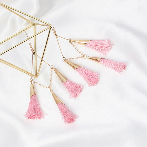 Blush Pink Boho Tassel Drop Earrings