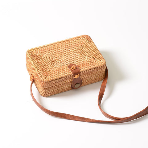 Straw Cross Body Bag (Square)