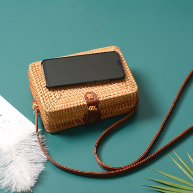 Square Straw Rattan Crossbody Bag