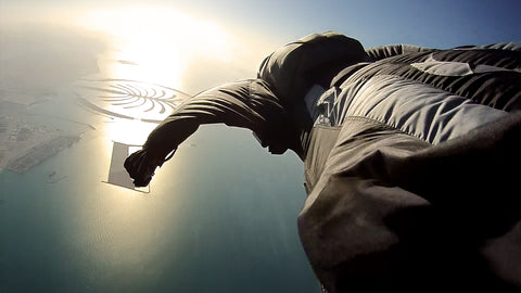 wingsuit flying palm jumeirah island
