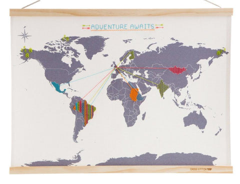 Cross Stitch Travel Map