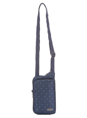 Pacsafe Daysafe Tech Anti-theft Crossbody, Navy Polka