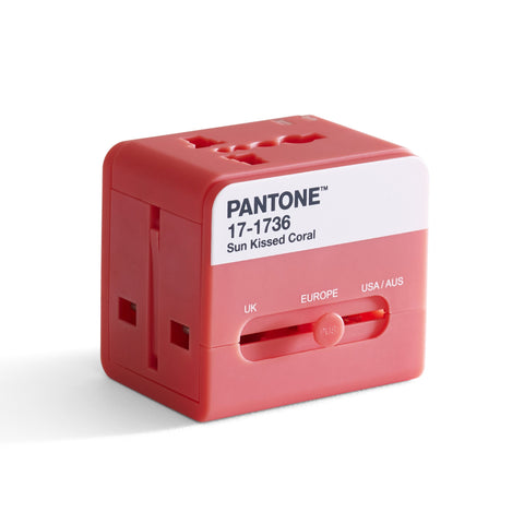 Pantone Worldwide Travel Adaptor - Coral