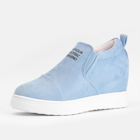 b9c04e43f94 Fashion Letter Slip On Wedge Sneakers Faux Suede Wedge Heel Casual Sneakers