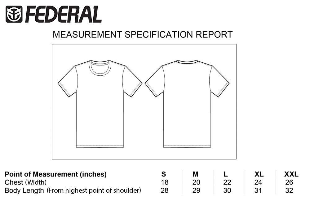 Federal Small Logo T-shirt Sizing Black | BMX